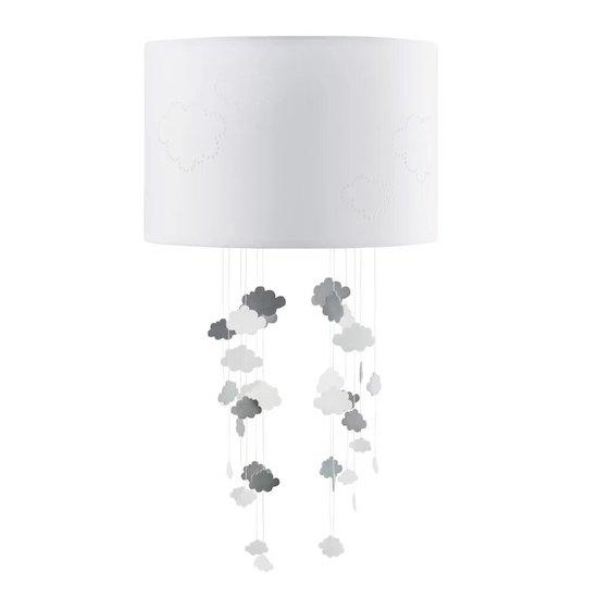Abat-jour motifs nuages THEOPHILE de Maisons du Monde sera idéale pour diffuser une lumière douce dans la chambre de bébé