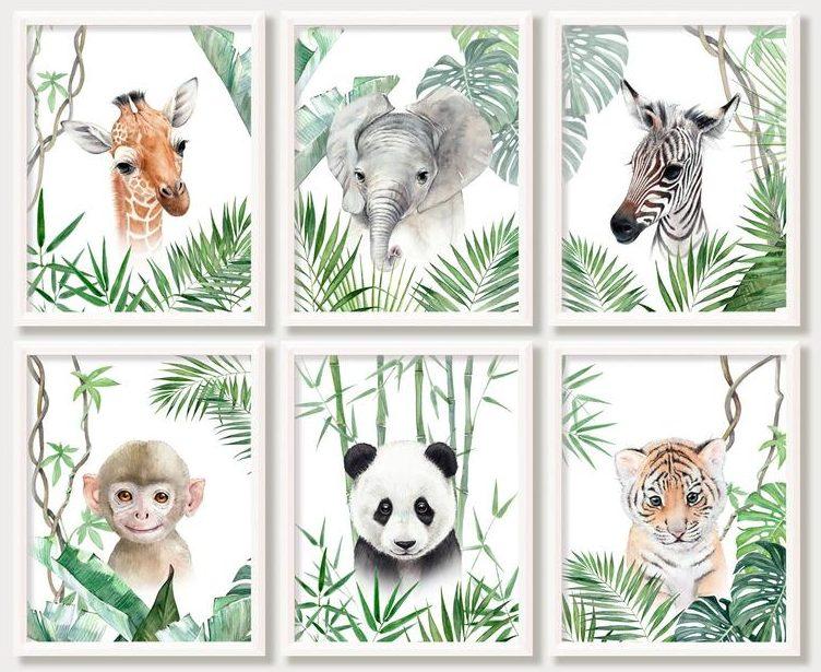 Affiche pour chambre bébé animaux de la jungle - Créatrice ETSY : AnimArtPrint