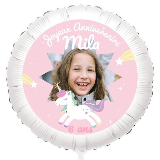 Ballon hélium à personnaliser avec sa photo et son prénom pour décorer une baby shower