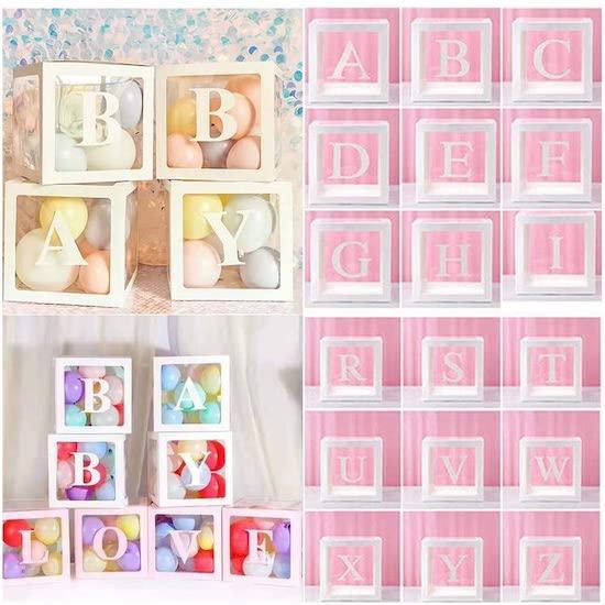 Boite à ballons contenant les lettres de bébé pour baby shower ou anniversaire enfant