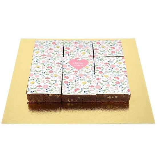 Un délicieux Brownie Liberty au Chocolat à personnaliser pour baby shower ou anniversaire