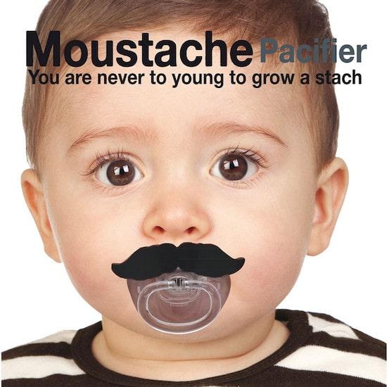 Idée de cadeau de naissance rigolo la tétine moustache