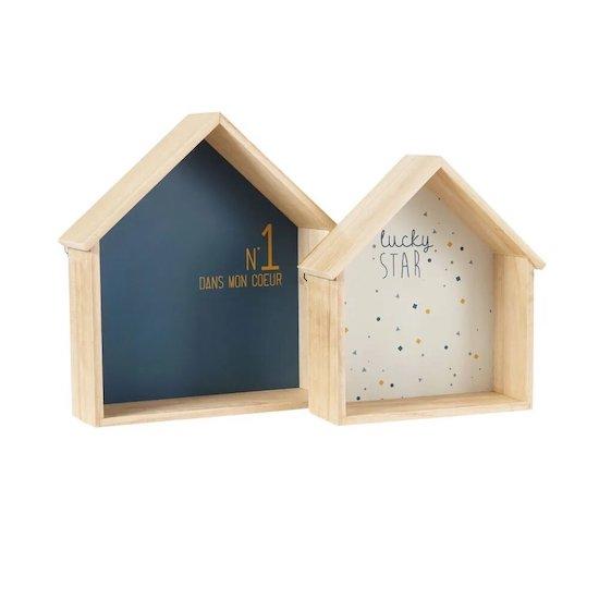 Etagères maisons bleue et blanche tendance collection GASPARD de Maisons du Monde pour décorer la chambre de bébé