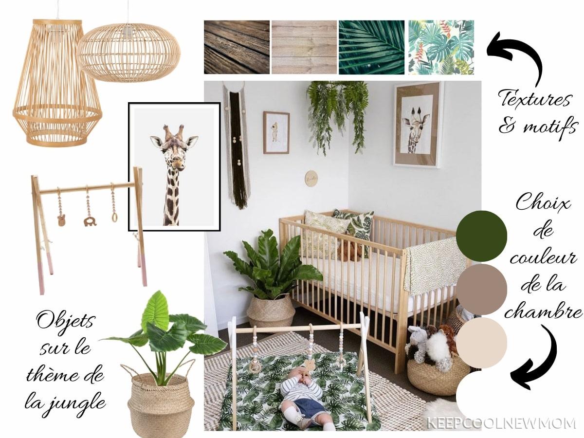 Moodboard : planche d'idée pour aménager une chambre bébé jungle