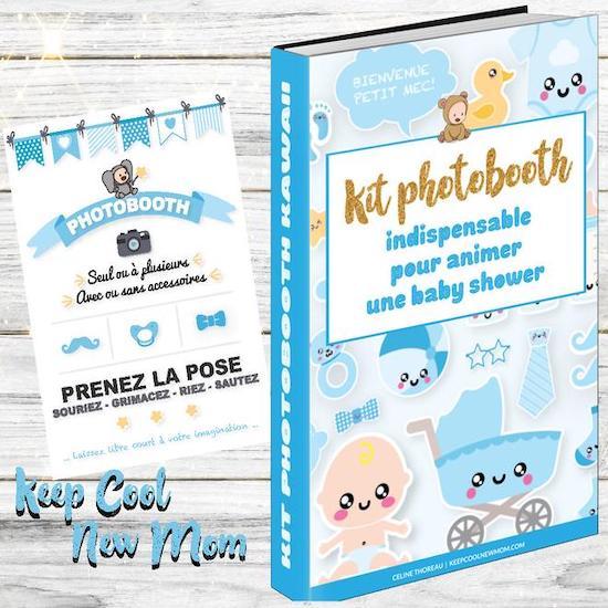 Kit photobooth pour amuser les invités lors d'une baby shower - Créatrice ETSY : Keepcoolnewmom