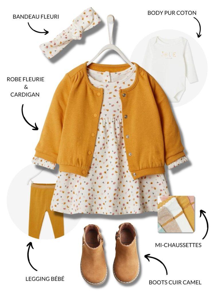 Mignonne robe automnale et fleurie pour habiller bébé pour la rentrée