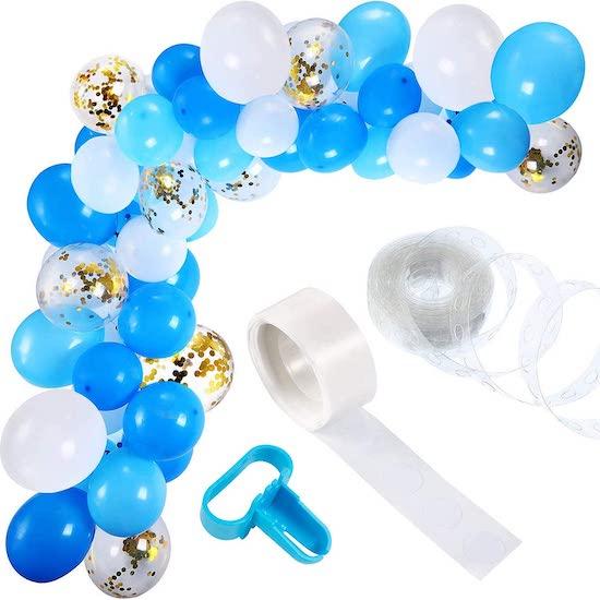 kit ballon Guirlande dans les tons de bleu et or pour décorer une baby shower