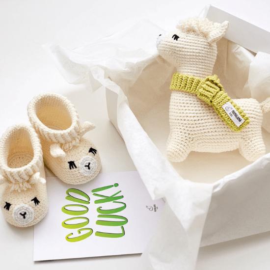 Coffret cadeau bébé tricot lama - Créatrice ETSY : MamalamaKids