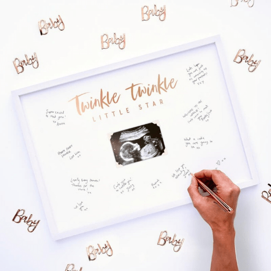 Livre d'or cadre en bois blanc pour baby shower ou naissance
