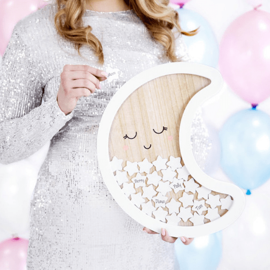 Livre d'or lune pour baby shower - Créatrice ETSY : InspiredbyAlma