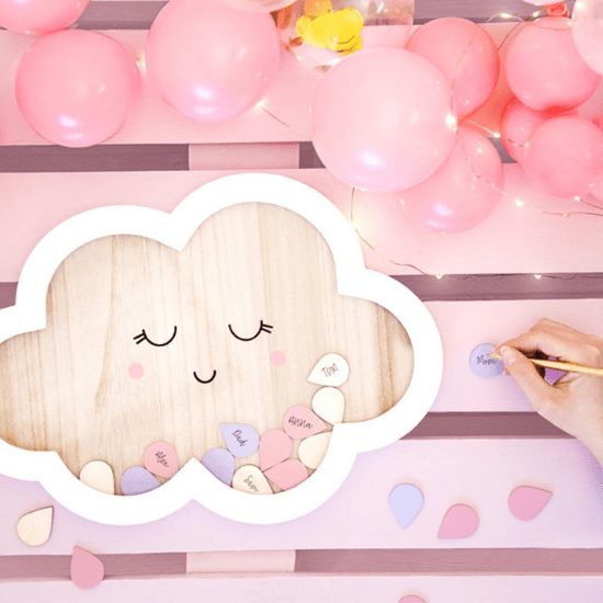 Livre d'or nuage pour naissance ou baby shower - Créatrice ETSY : NatuerlichVerpacken