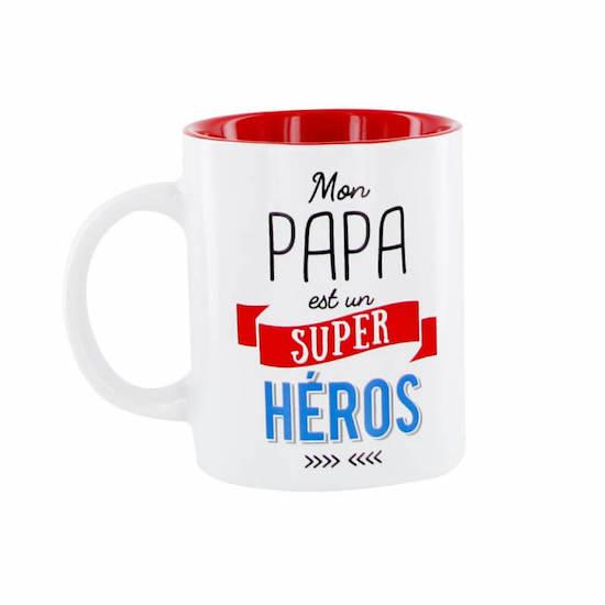 Mug papa super héro à offrir pour la fête des pères ou anniversaire