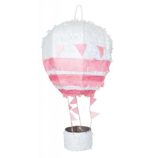 Pinata montgolfière rose pour une baby shower fille