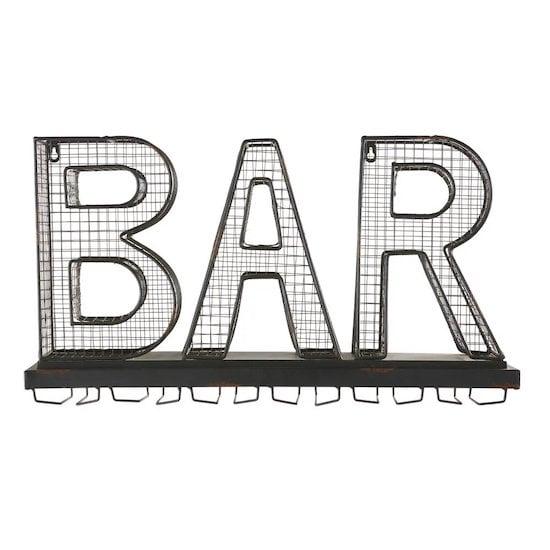 Porte-verres mot bar en métal noir effet rouillé de Maisons du Monde