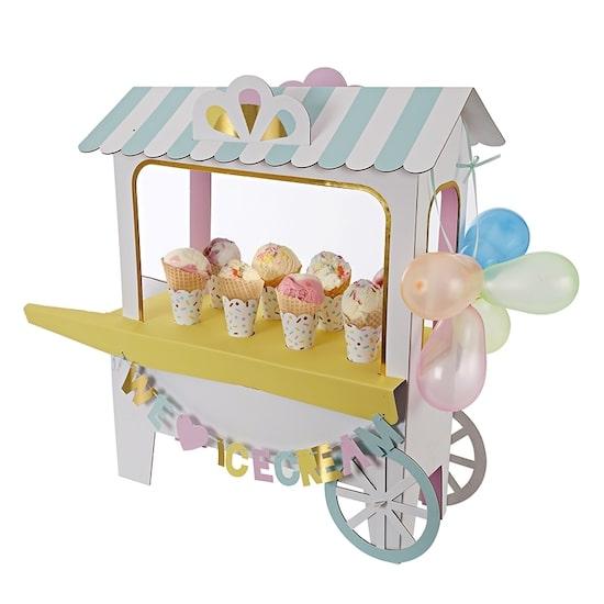 Présentoir charriot à glaces pour candy bar baby shower