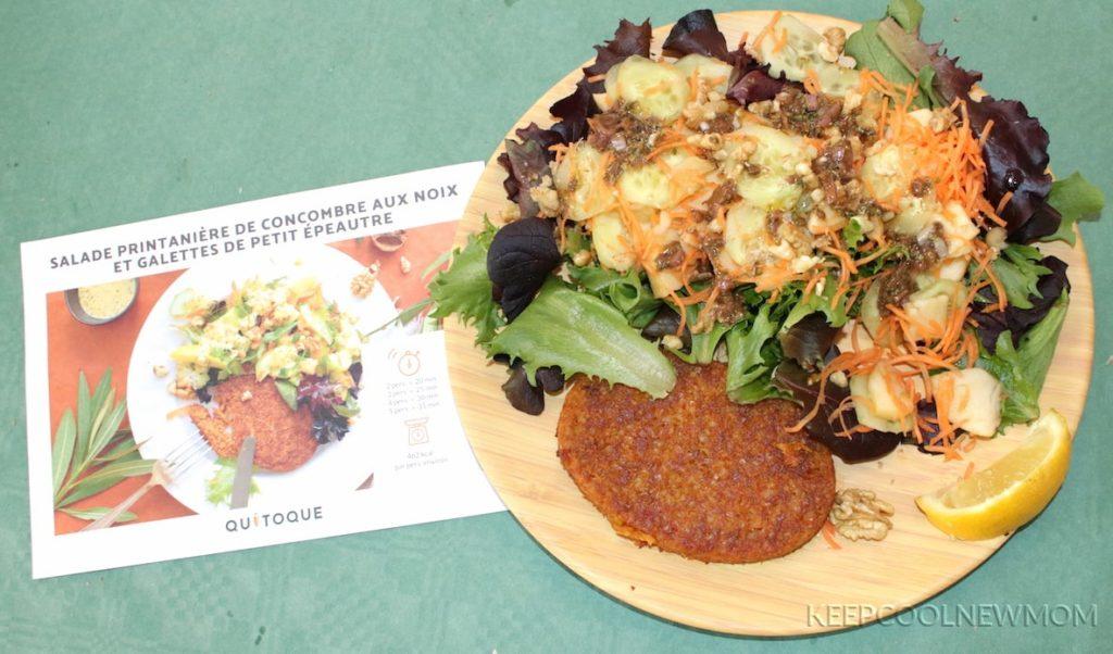 Recette Quitoque : Salade printanière de concombres aux noix et galettes de petit épeautre