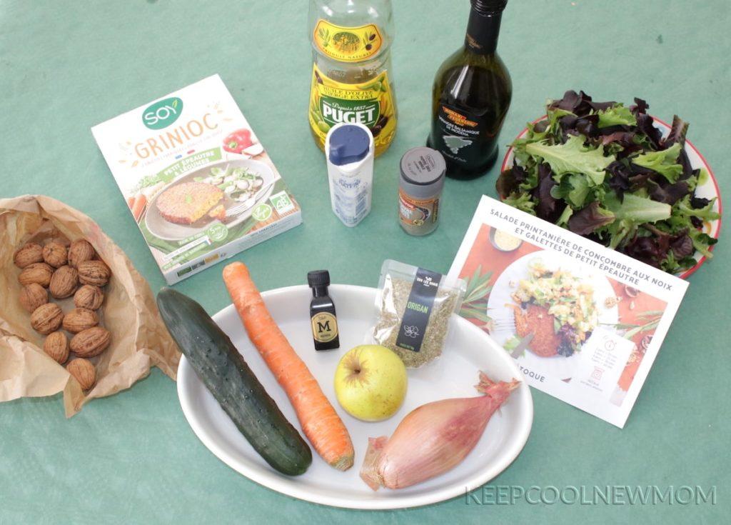 Recette salade printanière de concombres aux noix et galettes de petit épeautre