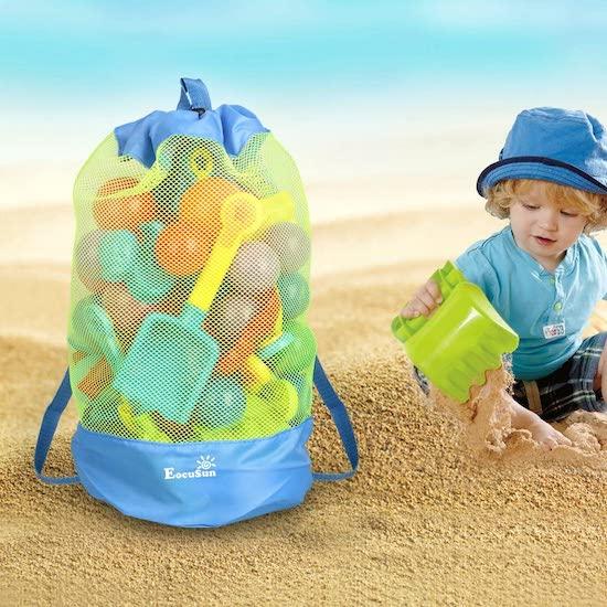 Sac en filet pour ranger tous les jouets de plage de bébé