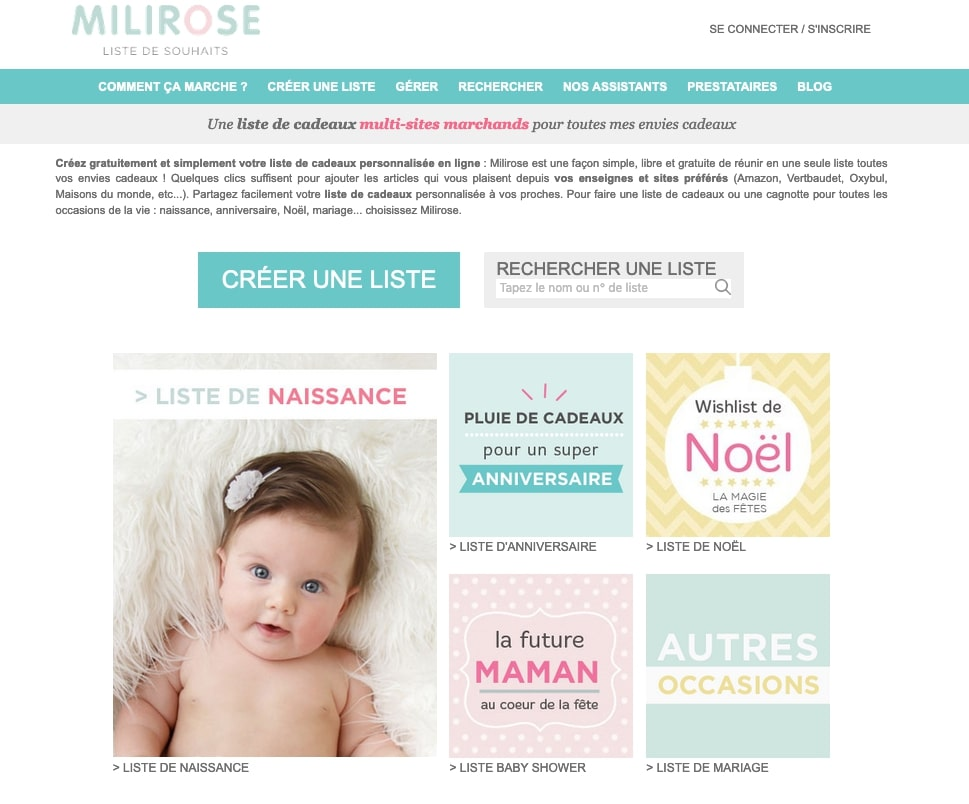 Liste de naissance en ligne Milirose