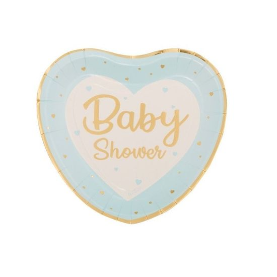 8 assiettes en carton en forme de cœur avec l'inscription baby shower