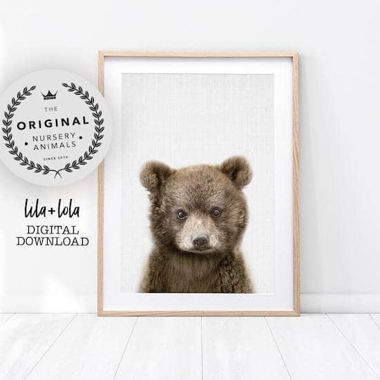 Affiche d'un ourson pour décorer une chambre de bébé - Créatrice ETSY : LILAxLOLA