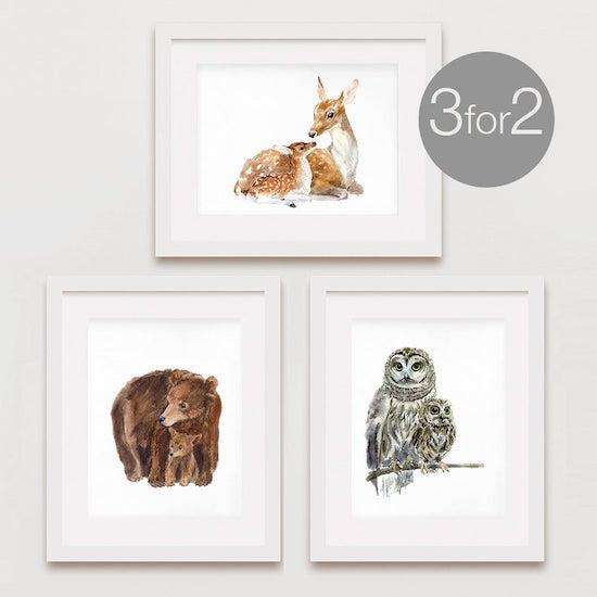 Affiches d'animaux sauvages pour décorer une chambre bébé mur montagne - Créatrice ETSY : chocovenyl