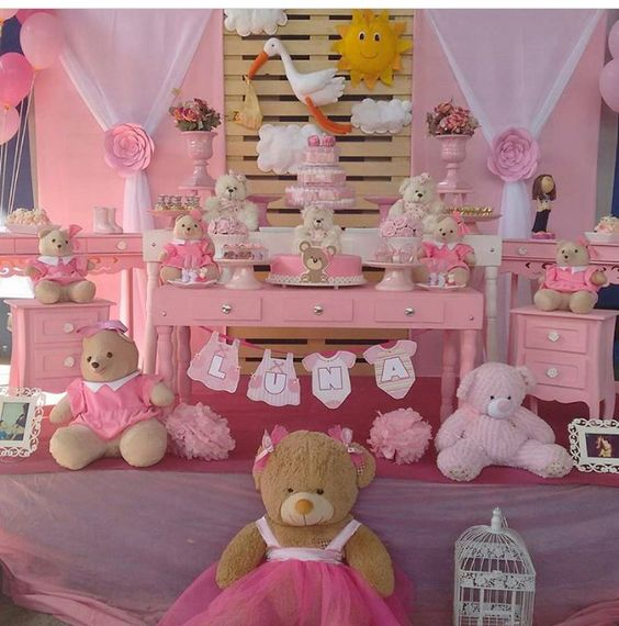 Baby shower fille thème ourson