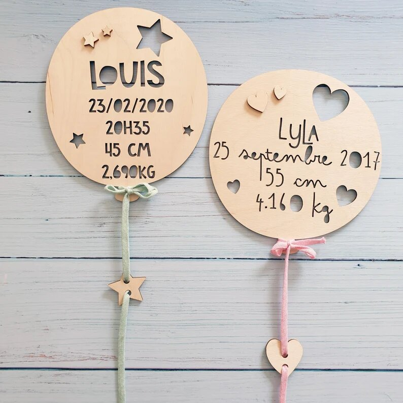Ballon de naissance en bois personnalisé - Créatrice ETSY : Lachouettemauve