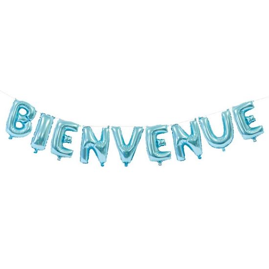 Guirlande ballons aluminium lettres Bienvenue bleue 36 cm