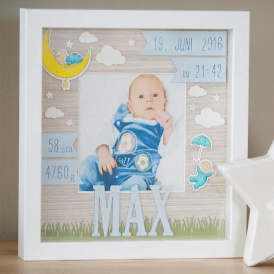 Cadre 3D personnalisé pour cadeau de naissance petit garçon - Créatrice ETSY : AnlolinA