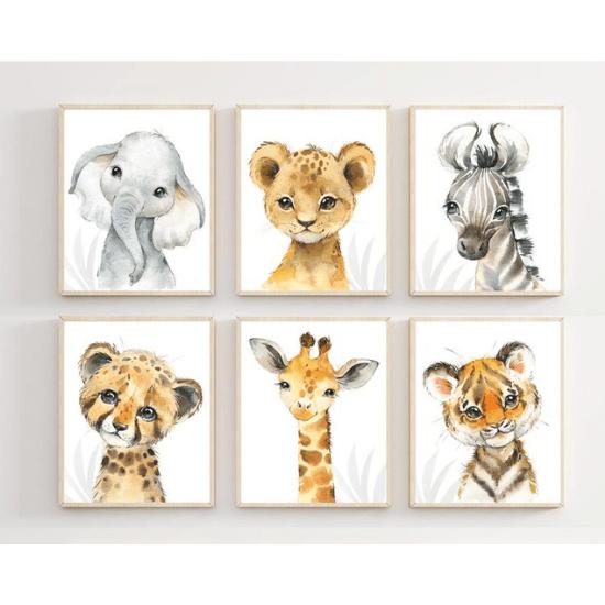 Affiches animaux sauvage thème safari - Créatrice ETSY : HopAndPop