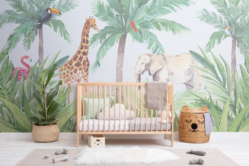 Chambre bébé jungle moderne et enfantin