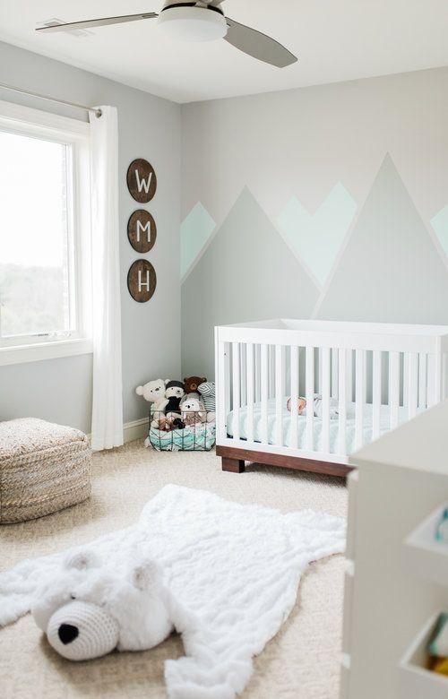 Inspiration décoration chambre bébé montagne avec tapis ours polaire