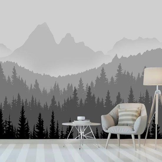 Papier paint montagne et lac dans les tons de noir et blanc - Créatrice ETSY : KidswallpaperDesign