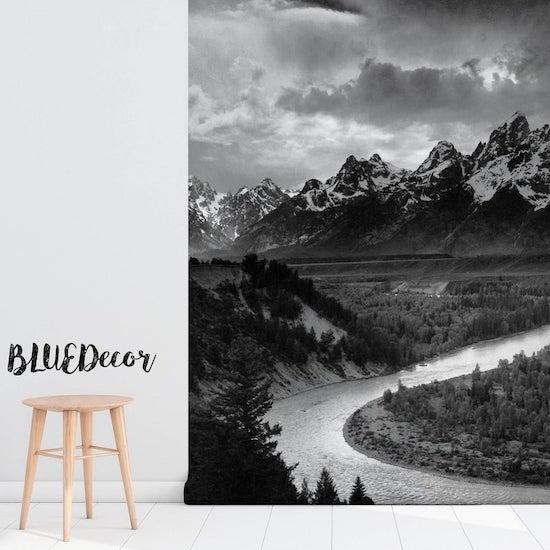 Papier peint chambre bébé montagne dans les tons de noir et blanc - Créatrice ETSY : BlueDecorMurals