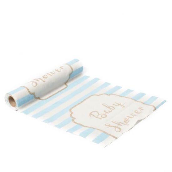 Chemin de Table Baby Shower en Lin Rayé couleur bleu, blanc et Or