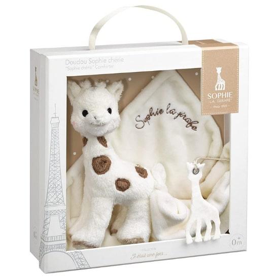 Idée de cadeau de Noël pour bébé : le coffret Doudou Sophie Chérie