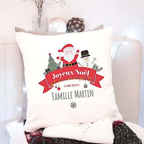 Coussin personnalisable Joyeux Noël premier Noël bébé