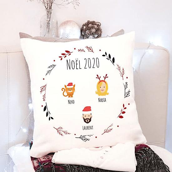 Coussin personnalisé famille premier Noël bébé