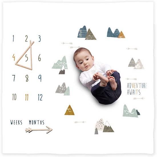 Couverture bio pour bébé sur le thème de la montagne
