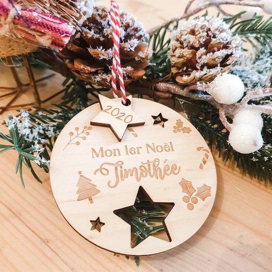 Décoration Sapin bois Mon 1er Noël - Créatrice ETSY : Lachouettemauve