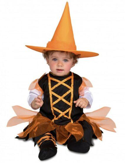Déguisement petite sorcière orange bébé