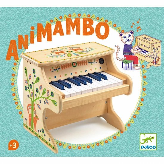 Le Piano en bois pour enfant Animambo de Djeco est un bel instrument de musique en bois pour les enfants à partir de 3 ans