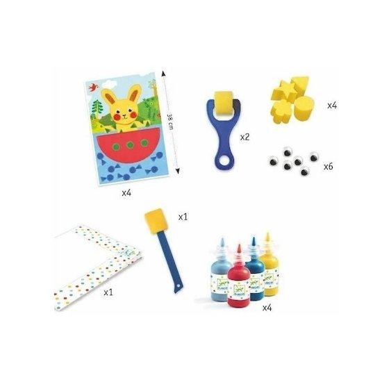 La marque Les Amis Monstres propose dans leur boutique ce kit de peinture Djeco, activité créative et amusante pour les plus petits, pour un premier pas vers les loisirs créatifs