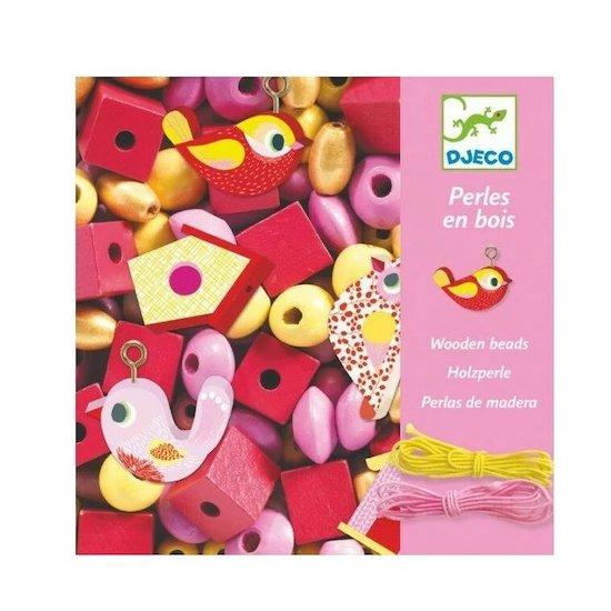 Coffret de 450 perles en bois de la marque Djeco pour réaliser des bijoux sur le thème des oiseaux