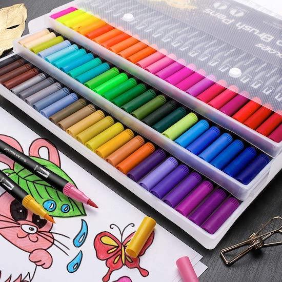 72 feutres pinceaux pour livre de coloriage