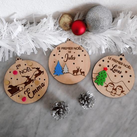 Boule de Noël personnalisée - Créatrice ETSY : LusinetteBleue