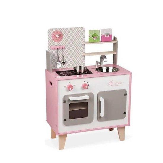 La cuisine en bois pour enfant de la marque Janod est une cuisine aux couleurs tendres pour les enfants dès 3 ans