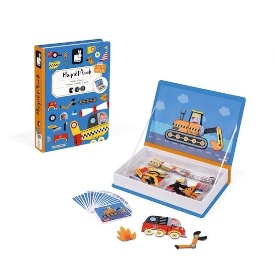 Boite de jeu magnétique Magnetibook Bolides de Janod thème véhicules contient 50 magnets et 18 cartes sur le thème des véhicule