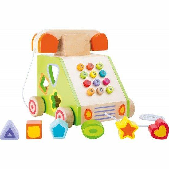 Téléphone post-millénium jouet en bois, il fait partie des jouets en bois Petits Chats